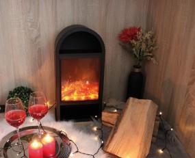 Deko Kamin mit Flammeneffekt 25,5x15,5x50 cm schwarz