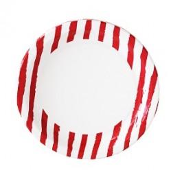 R Duni Teller Red Stripe 10er Pack Ø 22cm