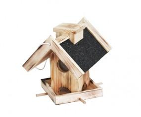 Vogelhaus Futterstelle schwarzes Teerpappedach