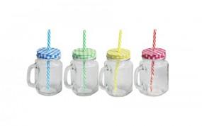 Glas - Trinkglas mit kariertem Deckel & Strohhalm 450ml