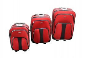Koffer - Trolley 3er Set aus Polyester rot