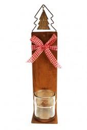 W Kerzenständer Rost mit Teelichtglas H x 53cm