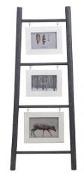 Leiter mit 3 Bilderrahmen grau/weiß H x 90cm