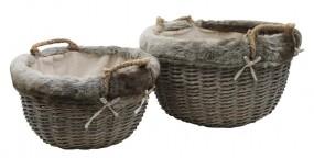 Korb mit Fell und Kordelgriff 2er Set groß, rund