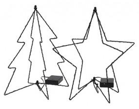 W Stern/Baum faltbar 3D mit LED, schwarz