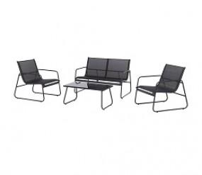 Garten Lounge Set, schwarz
