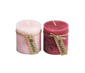Kerze Rustic Ø 7x7,5 cm in rosa & altrosa
