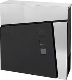 Briefkasten 37x37x10,5 cm Edelstahl-schwarz