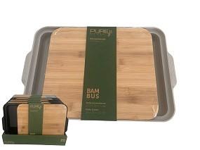 Bambus Schneidebrett mit Tablett 37x24x3,5 cm