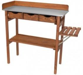 Pflanztisch aus Holz 90x38x90cm 3 Schubladen + Seitenablage