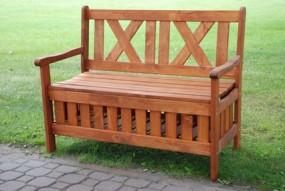 Holz Bank mit Stauraum kieferfarbe 115x52x88cm